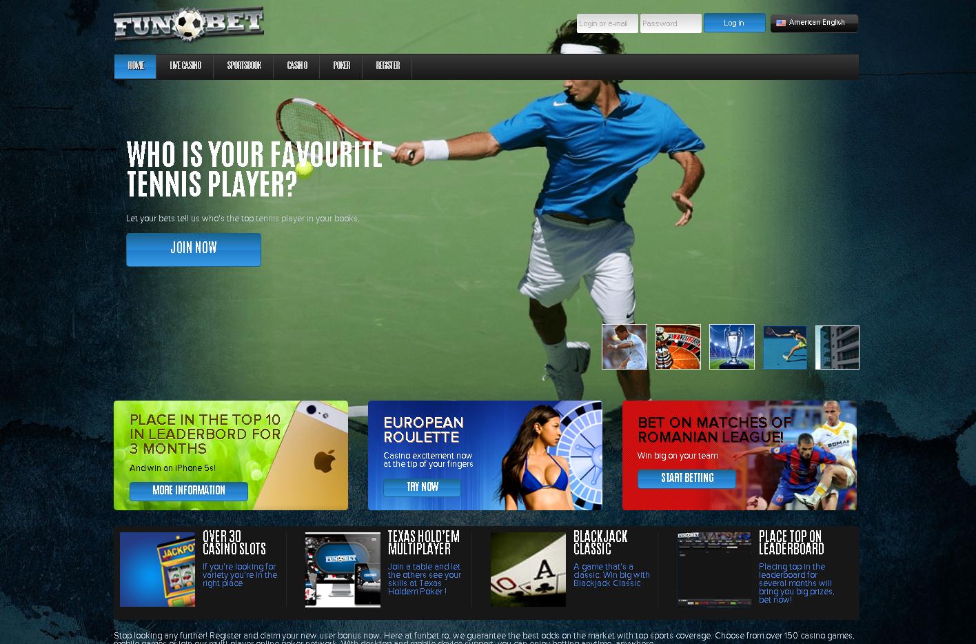 Example casino splash page