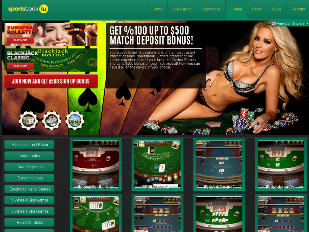 Example casino home page